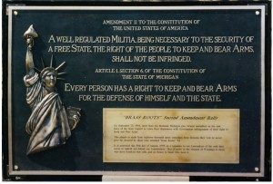 Spent shell casings were collected, melted down and made into a plaque commemorating the rally and casting in brass the Second Amendment to the US Constitution and Article I, Section 6 of the Michigan Constitution -- alongside a 3-dimensional Statue of Liberty relief, created by famed, Michigan sculptor, Edward Chesney.